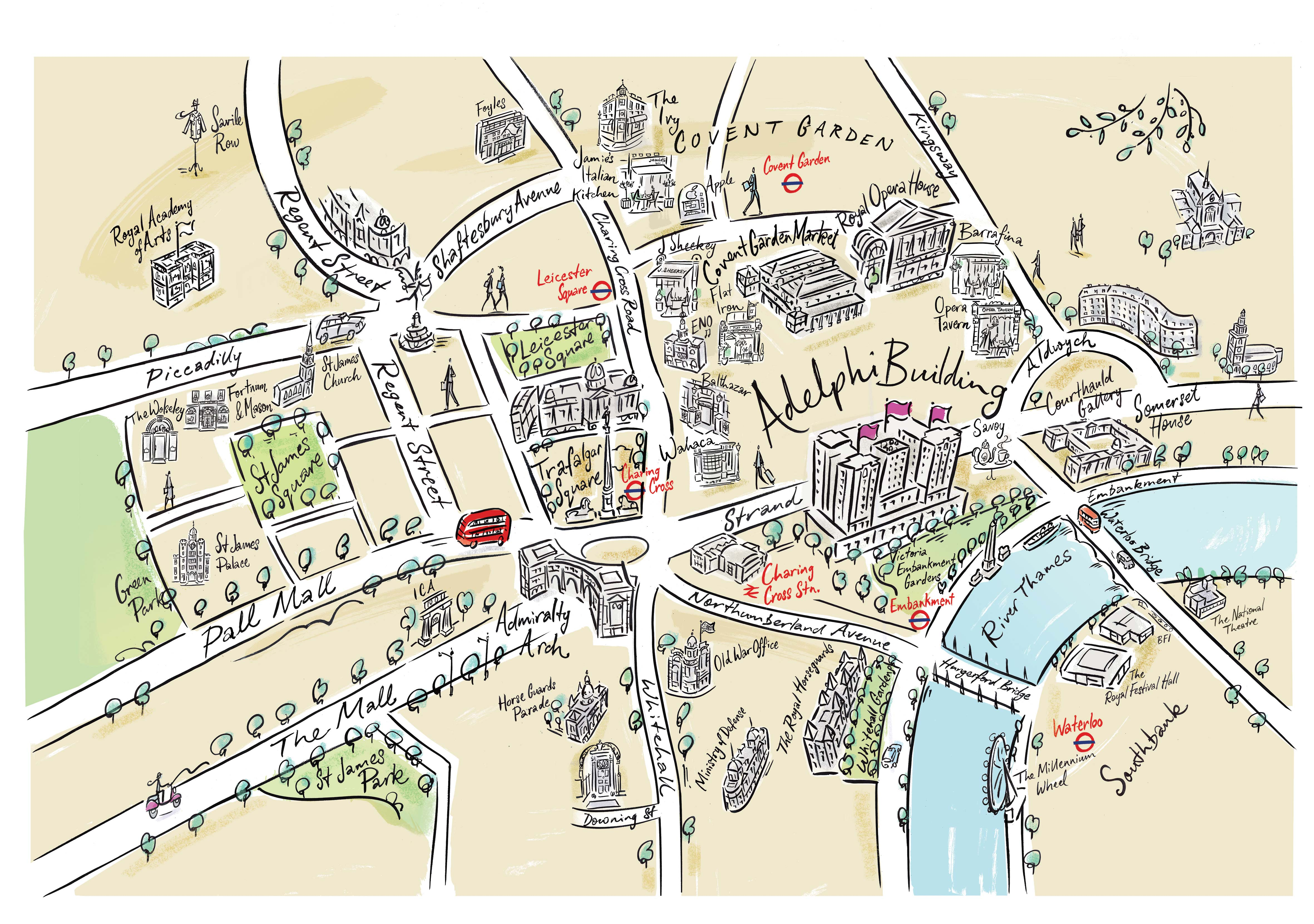 Basic Map Of London.Illustrated Maps Arial Perspectives Ian Mitchell